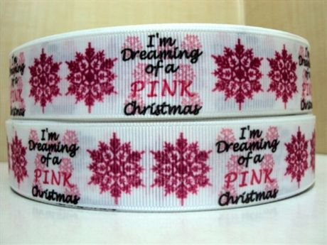 1 METRE OF IM DREAMING OF A PINK CHRISTMAS RIBBON SNOWFLAKE XMAS SIZE 1 INCH HEADBANDS BOWS